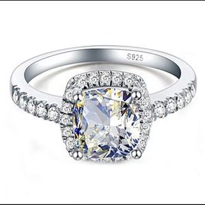 S925 Sterling Silver bridal engagement ring